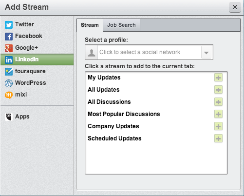 pulling Linkedin into hootsuite