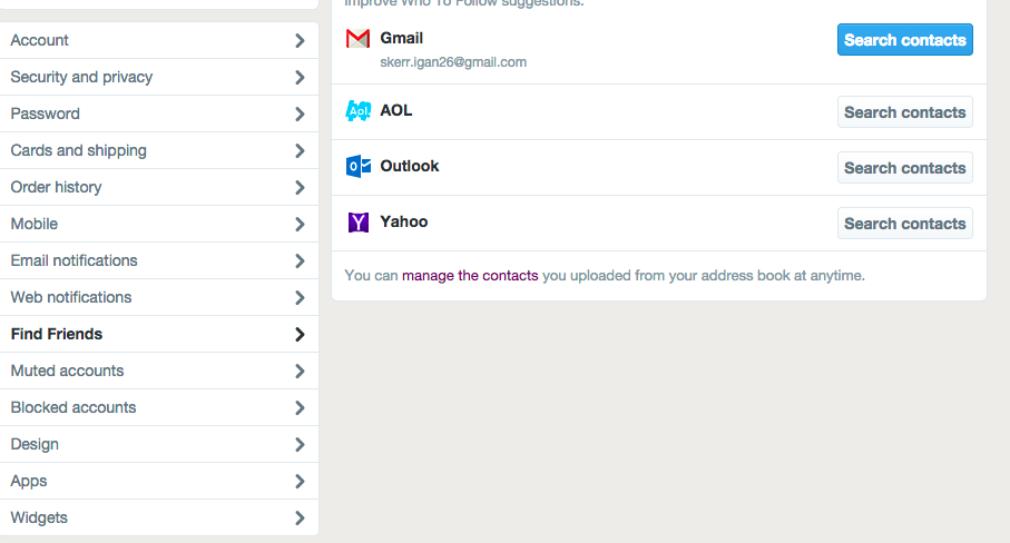 linking Twitter to Gmail