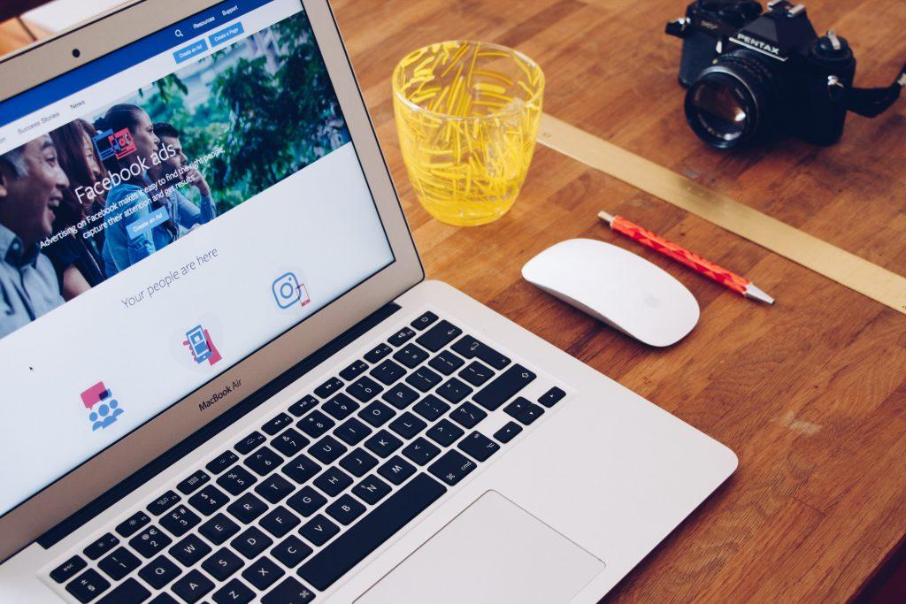 Facebook advertising on laptop